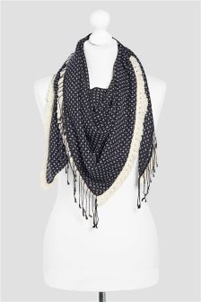 Navy Cross Stitch Effect Scarf