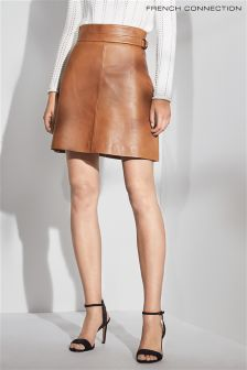 French Connection Tan Leather Mini Skirt
