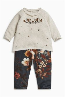 Ecru Floral Tunic And Leggings Set (0mths-2yrs)