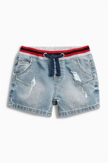 Denim Sporty Elastic Shorts (3-16yrs)