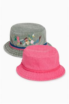 Pink/Khaki Fisherman Hats Two Pack (Younger Girls)