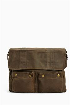Khaki Waxed Messenger