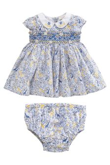 Blue Printed Smock Dress And Knickers (0mths-2yrs)