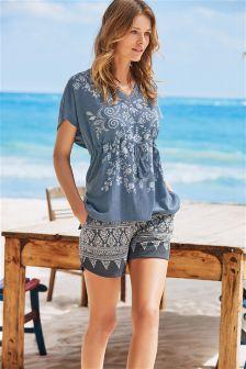 Print Textured Shorts