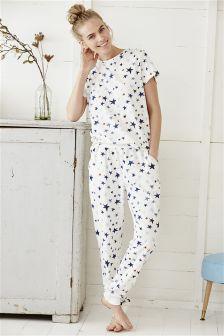 Cream/Blue Short Sleeve Printed Pyjamas
