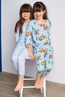 Blue Floral And Stripe Pyjamas Two Pack (3-16yrs)