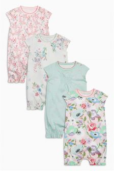 Multi Floral Short Sleeve Rompers Four Pack (0mths-2yrs)