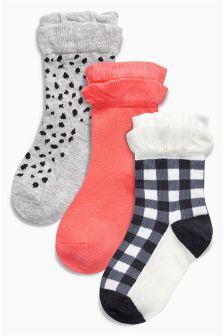 Pink/Grey Dreamer Socks Three Pack (Younger Girls)