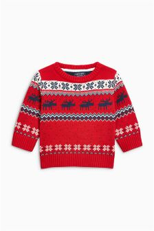 Stag Fairisle Pattern Christmas Jumper (3mths-6yrs)