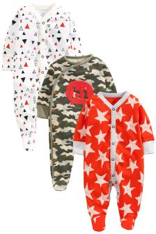 Green Camo Sleepsuits 3 Pack (0mths-2yrs)