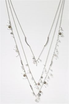 Silver Tone Beaded Layer Necklace
