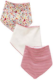 Multicolour Floral Print Dribble Bibs Three Pack