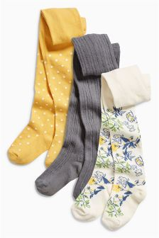 Yellow Buttercup Floral Tights Three Pack (0mths-6yrs)