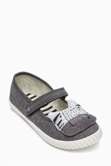 Grey Mary Jane Character Trainers (Younger Girls)
