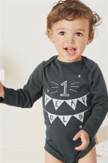 Monochrome Long Sleeve One Year Old Bodysuit (9-18mths)