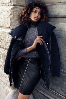 Black Leather Look Zip Front Skirt