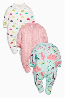 Teal Dino Sleepsuits Three Pack (0mths-2yrs)