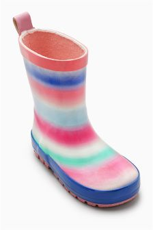 Pink Pastel Stripe Wellies (Younger Girls)