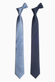 Blue Patterned And Plain Ties Two Pack