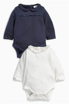 Ecru/Navy Bodysuits Two Pack (0mths-2yrs)