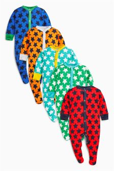 Star Sleepsuits Five Pack (0mths-2yrs)