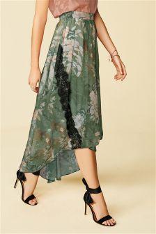 Khaki Floral Maxi Skirt