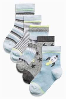 Blue Rocket Socks Five Pack (Younger Boys)