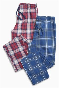 Navy/Burgundy Woven Check Bottoms Two Pack