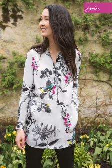 Joules Eden Print Silver Birdberry Woven Tunic Shirt