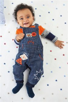 Denim Badged Dungarees And Bodysuit (0mths-2yrs)