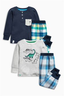 Navy/Grey Woven Check Pyjamas Two Pack (12mths-8yrs)