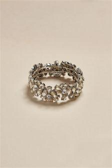 Silver Tone Crystal Effect Expander Bracelet