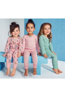 Green/Pink Snuggle Fit Floral Pyjamas Three Pack (9mths-8yrs)
