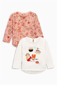 Red Ditsy Character Tops Two Pack (3mths-6yrs)