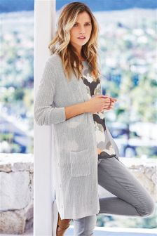 Metallic Ribbed Cardigan