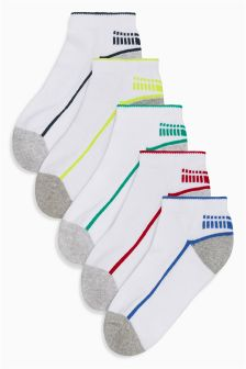 White Sporty Trainer Socks Five Pack (Older Boys)