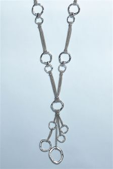 Silver Tone Organic Circle Long Necklace