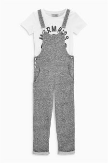 Charcoal Dungarees And T-Shirt Set (3-16yrs)