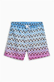 Blue/Pink Zig Zag Print Swim Shorts (3mths-16yrs)
