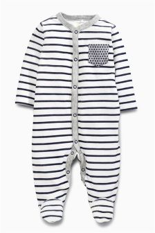 Navy/White Stripe Velour Sleepsuit (0mths-2yrs)