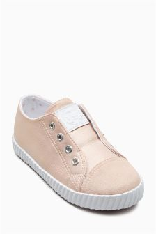 Pink Metallic Laceless Pumps (Younger Girls)