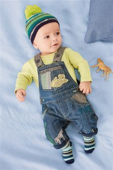 Denim Animal Appliqué Dungarees And Bodysuit (0mths-2yrs)