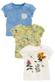 Blue/White Floral Short Sleeve T-Shirts Three Pack (3mths-6yrs)