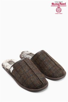 Brown Signature Harris Tweed Check Mule