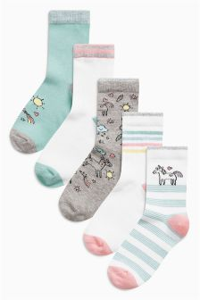Multi Unicorn Socks Five Pack (Older Girls)