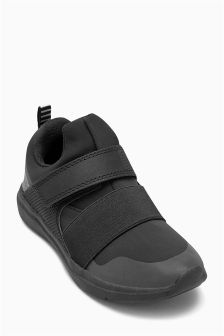 Black Touch Fastening Knit Trainers (Older Boys)