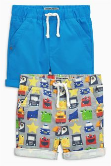 Blue/All Over Print Pull-On Shorts Two Pack (3mths-6yrs)