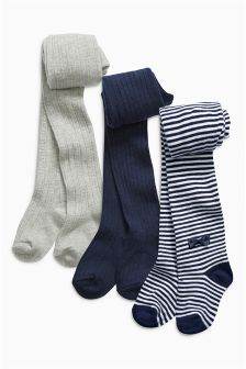Navy Stripe Tights Three Pack (0mths-6yrs)