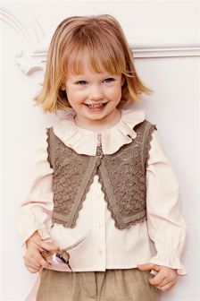 Pink Pointelle Waistcoat And Blouse Set (3mths-6yrs)