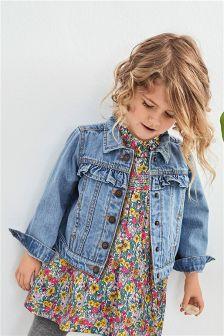 Синяя джинсовая куртка с рюшами (3 мес.-6 лет)